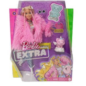 Papusa BARBIE Extra Fluffy Pink Jacket MTGRN28, 3 ani+, multicolor