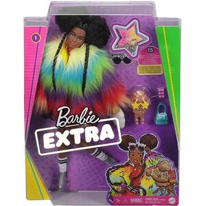 Papusa BARBIE Extra Rainbow Coat MTGVR04, 3 ani+, multicolor