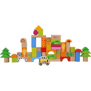 Joc constructie LEGLER Zoo in galetusa LE11054, 12 luni+, lemn, 50 piese