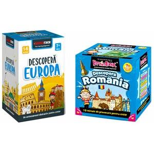 Pachet jocuri educative MEMORACE: Descopera Romania + Descopera Europa LG0054, 7 ani+, 109 piese