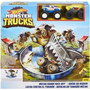 Set HOT WHEELS Monster Trucks Mecha Shark Face MTFYK14 , 4 - 8 ani, multicolor