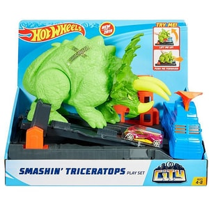 Masina cu pista HOT WHEELS City Smashin' Triceratops MTGBF97, 4 - 8 ani, multicolor