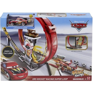 Set MATTEL Cars - Mega bucla a masinilor racheta MTGJW44, 4 ani+, gri-rosu