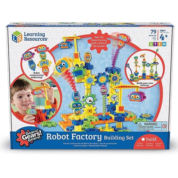 Set de constructie LEARNING RESOURCES Gears Fabrica de robotei LER9225, 4 - 8 ani, 79 piese
