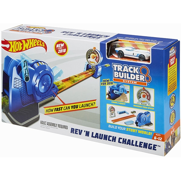 Pista de lansare cu masina HOT WHEELS Track Builder Rev 'n Launch Challenge MTFLL02, 6 - 12 ani, multicolor