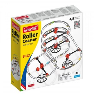 Joc constructie QUERCETTI Skyraill Roller Coaster Starter Set Q6429, 6 - 12 ani, 94 piese