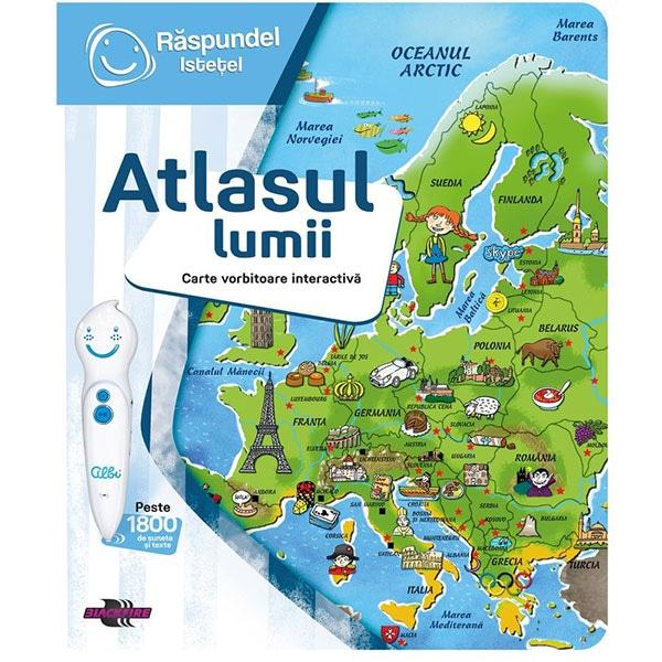 Carte interactiva RASPUNDEL ISTETEL Atlasul lumii 69369, 7 ani+, multicolor