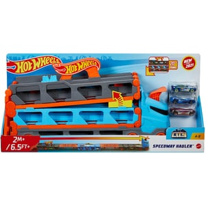Masina HOT WHEELS 2 in 1 Transporter City Speedway MTGVG37, 4 ani+, multicolor