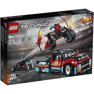LEGO Technic: Camion si motocicleta pentru cascadorii 42106, 8 ani+, 610 piese