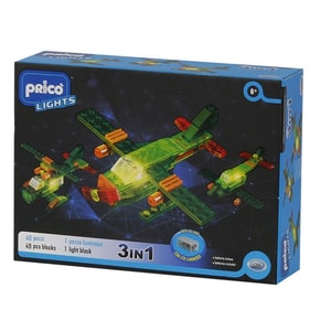 Joc constructie PRICO Lights Avion cu lumini LED 36900J, 6 ani+, 46 piese