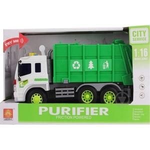 Masinuta pentru reciclare cu frictiune, lumini si sunete WENYI WY320A, 3 ani+, verde-alb