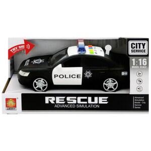 Masinuta de politie cu frictiune sunete si lumini WENYI WY560B, 3 ani+, negru-alb