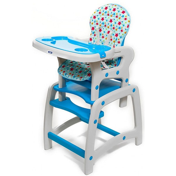 Scaun de masa JUJU Eat&Play JU3002-BLUE-STARS, 6 luni - 5 ani, albastru