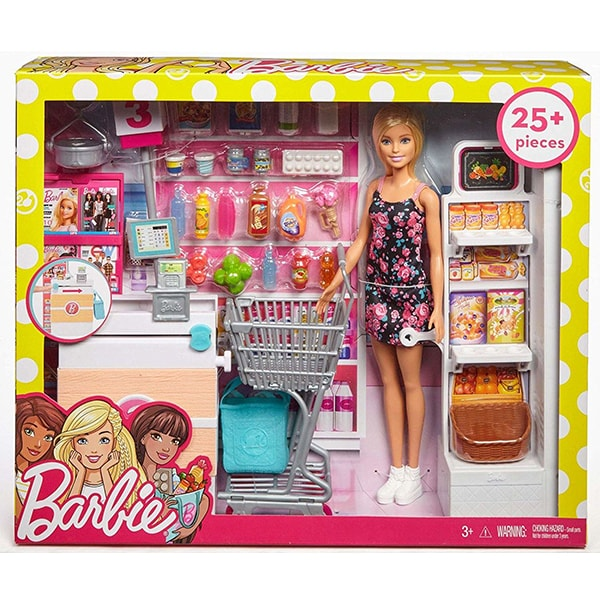 Papusa BARBIE Supermarket MTFRP01, 3 ani+, multicolor