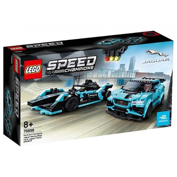 LEGO Speed Champions: Formula E Panasonic Jaguar Racing GEN2 car & Jaguar I-PACE eTROPHY 76898, 8 ani+, 565 piese