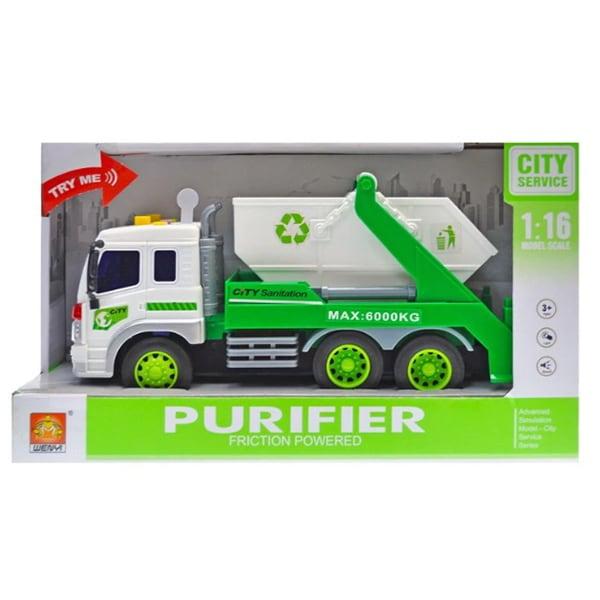 Masinuta pentru gunoi cu frictiune lumini si sunete WENYI WY320B, 3 ani+, alb-verde