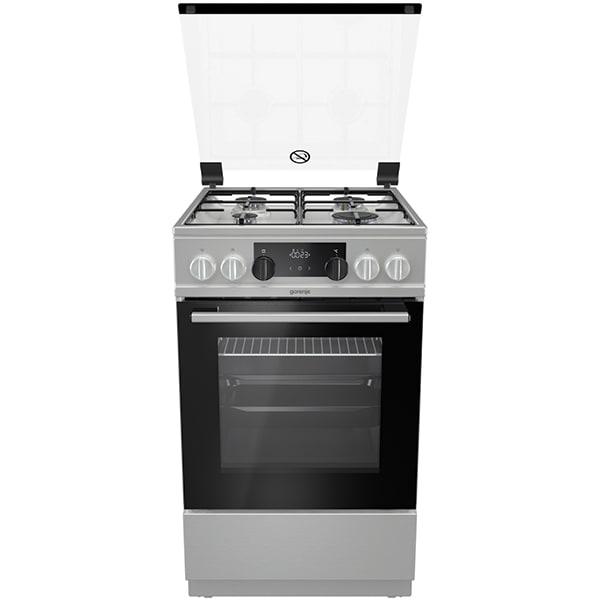 Aragaz GORENJE K5351XJ, 4 arzatoare, Gaz + Electric, L 50 cm, Grill, inox