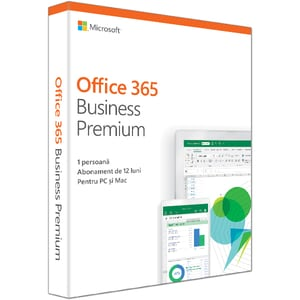 Microsoft Office 365 Business Premium 2019, Romana, 1 an, 1 utilizator, Windows/Mac, iOS si Android
