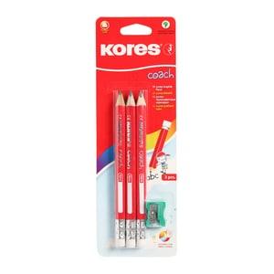 Set 3 creioane grafit KORES Coach + Ascutitoare, rosu