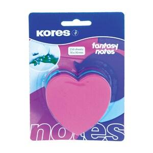 Notite adezive KORES, 250 file, forma inima, diverse culori