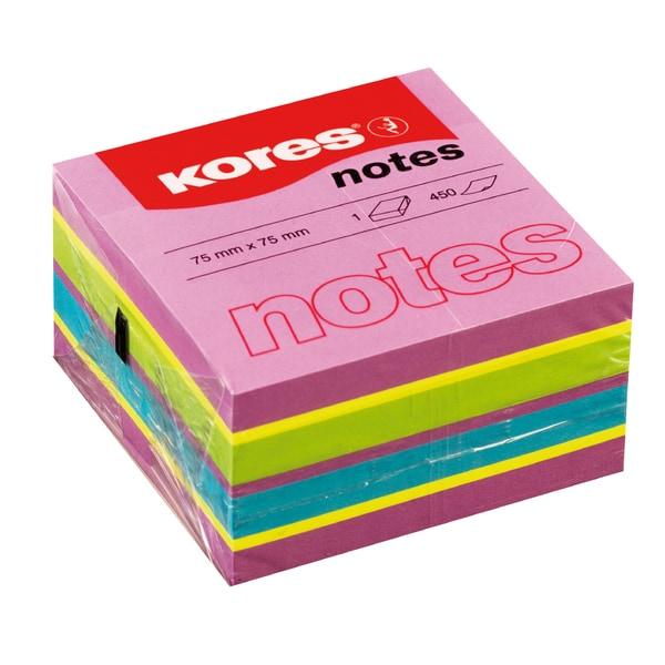 Notite adezive KORES, 450 file, 75 x 75mm, diverse culori
