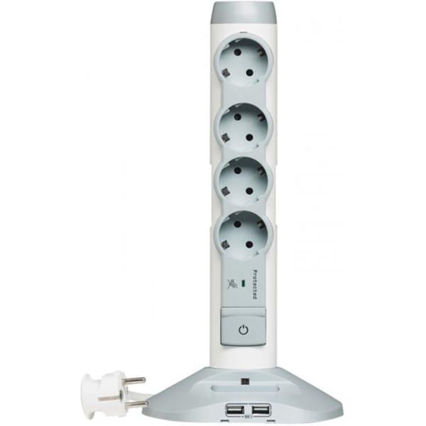 Prelungitor cu protectie LEGRAND 694614, 4 prize Schuko, 2 x USB, 2m, alb-gri