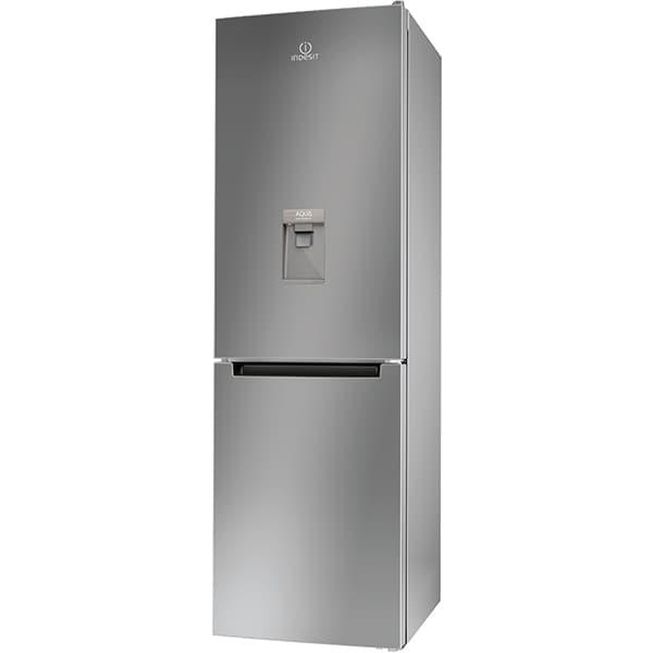 Combina frigorifica INDESIT LI8 S1E S AQUA, 334 l, H 188.9 cm, Clasa F, Dozator apa, argintiu