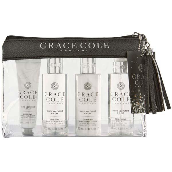 Set cadou GRACE COLE White Nectarine&Pear: Lotiune de corp, 100ml + Spray de corp, 100ml + Gel de dus, 100ml + Crema de maini, 30ml