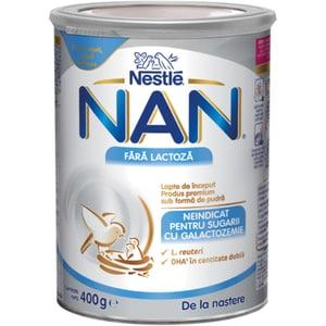 Formula speciala de lapte NESTLE NAN Fara lactoza 12306219, 0 luni+, 400g