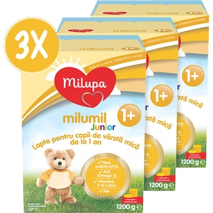 Pachete 3 x lapte praf MILUPA MILUMIL Junior 1+ PreciNutri PACK07, 12 luni+, 1200g
