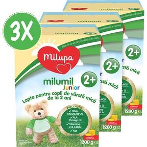 Pachet 3 x lapte praf MILUPA MILUMIL Junior 2+ PreciNutri PACK08, 2 ani+, 1200g