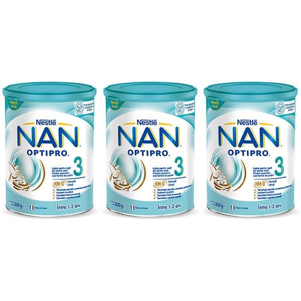 Pachet lapte praf NESTLE NAN Optipro 3 12395968, 1-2 ani, 3 x 800g