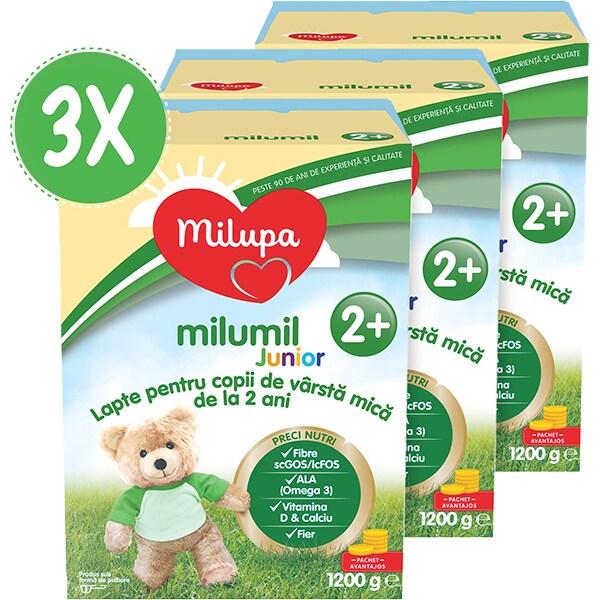 Pachet 3 x lapte praf MILUPA MILUMIL Junior 2+ PreciNutri PACK08, 2 ani+, 600g