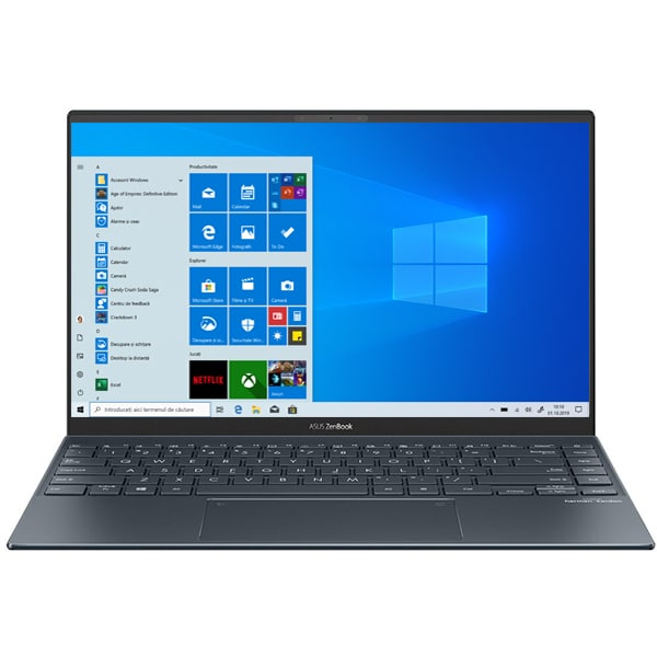 "Laptop ASUS ZenBook 14 UM425IA-HM040T, AMD Ryzen 7 4700U pana la 4.1GHz, 14"" Full HD, 16GB, SSD 512GB, AMD Radeon Graphic, Windows 10 Home, gri inchis"