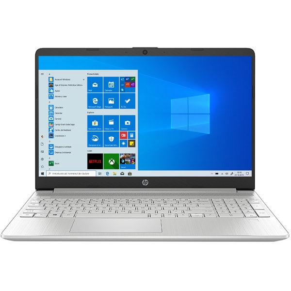 "Laptop HP 15s-fq1021nq, Intel Core i3-1005G1 pana la 3.4GHz, 15.6"" Full HD, 8GB, SSD 256GB, Intel UHD Graphics, Windows 10 Home S, argintiu"