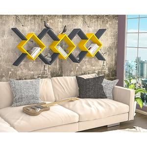 Raft perete Riki, 170 x 20 x 59 cm, antracit-galben