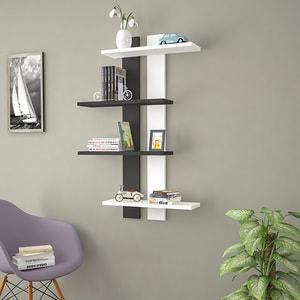 Raft perete Slim, 100 x 17 x 70 cm, alb-negru