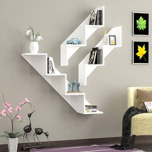 Raft perete Keen, 125 x 22 x 18 cm, alb