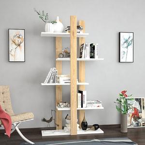 Biblioteca Dembi, stejar-alb, 150 x 22 x 75 cm