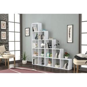Biblioteca Elon, alb, 162 x 22 x 160 cm