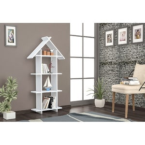 Biblioteca Eze, alb, 135 x  22 x 53 cm