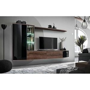 Mobila living GENAROM Dark 20 DMS DK, stejar monastery-negru lucios, 255 x 40 x 130 cm