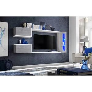 Mobila living GENAROM Galaxy 29 BTW GX, gri beton-alb, 235 x 30 x 95 cm