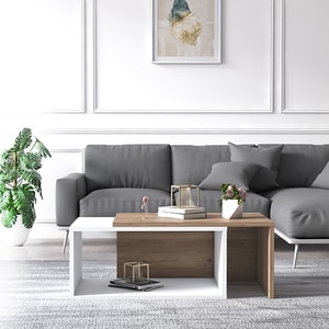 Masuta cafea Felice, stejar-alb, 70 x 42 x 34 cm