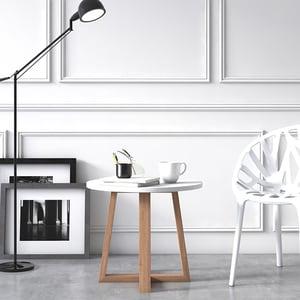 Masuta cafea Mica Loom, alb, 52 x 52 x 43 cm