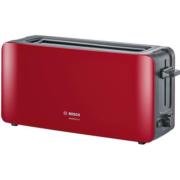 Prajitor paine BOSCH ComfortLine TAT6A004, 4 felii, 1090W, rosu-gri inchis