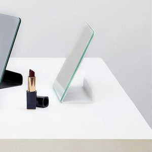 Oglinda cosmetica SPIN Halo, 15.24 x 15.24 cm, alb