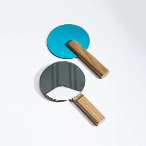 Oglinda cosmetica SPIN Paddle Vanity, 15 x 25 cm, Lemn, cyan-albastru