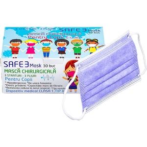 Set masti de protectie pentru copii MACRATEX, 3 straturi, 30 bucati, mov