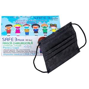 Set masti de protectie pentru copii MACRATEX, 3 straturi, 30 bucati, negre
